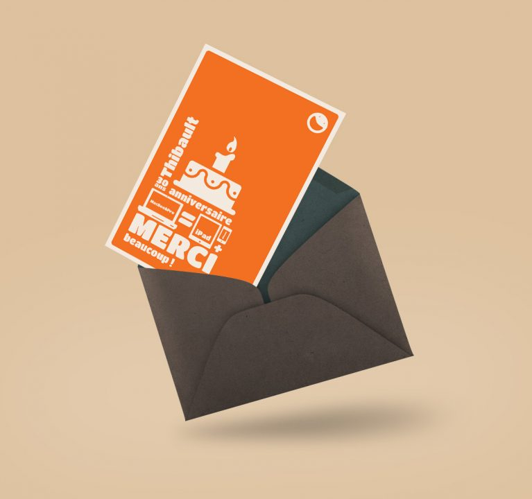 Carton de remerciement anniversaire Thibault
