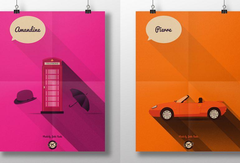 Illustrations vectorielles Amandine et Pierre